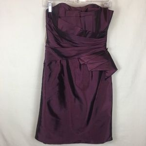 Cinderella Divine | Satin Strapless Dress Plum NWT
